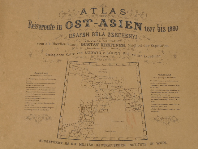 Szechenyi, Atlas zur Reiseroute in Ost-Asien, circa 1884
