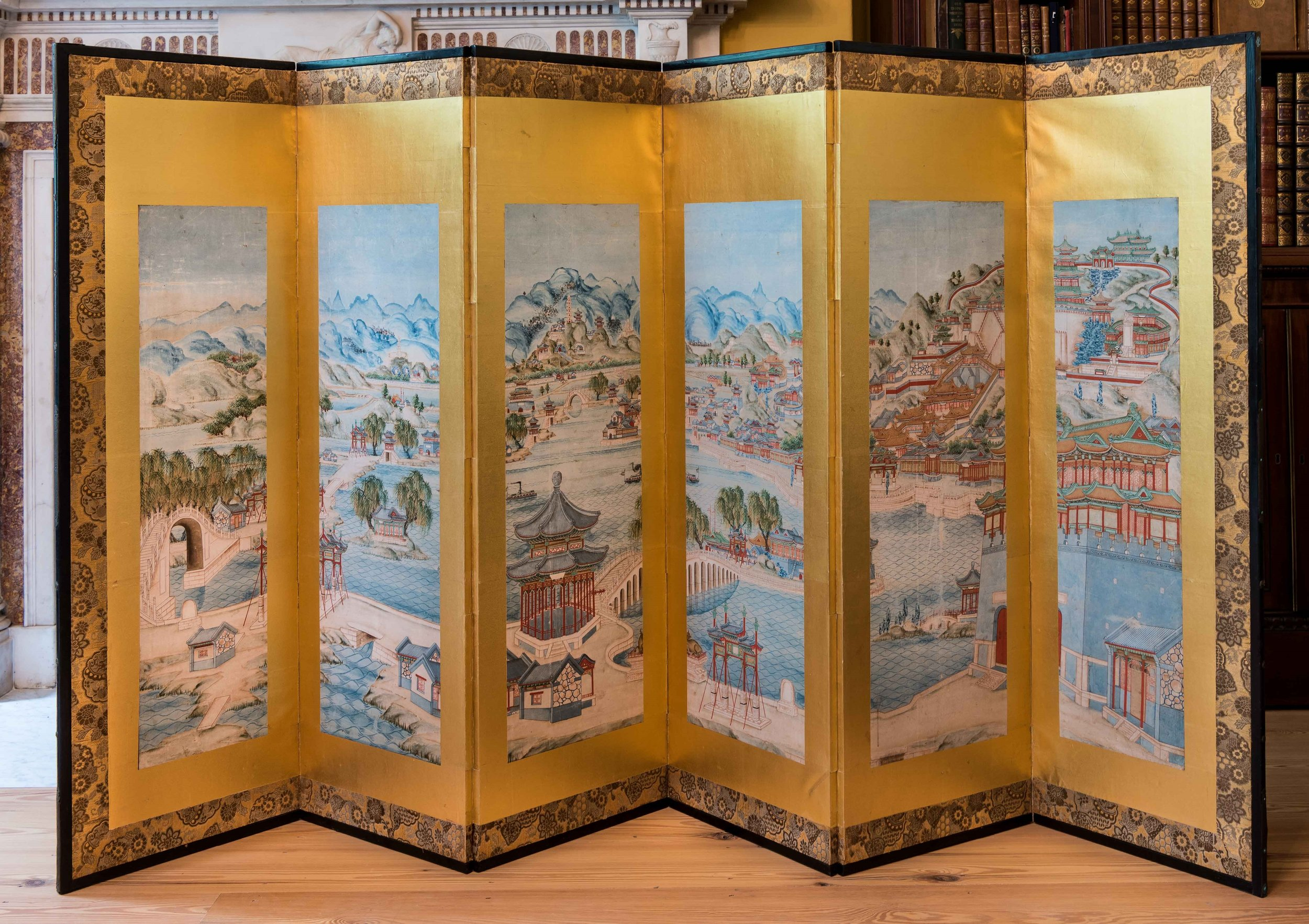 Unknown Chinese artist. Six-fold Screen with view of the Yihe-yuan Imperial Summer Palace, Beijing, circa 1890s