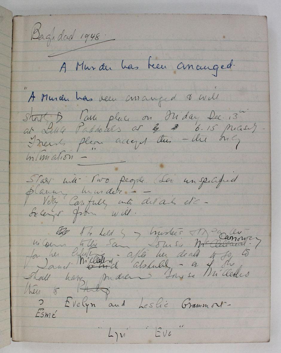 Agatha Christie. Unpublished manuscript notebook,  1948 - 1951