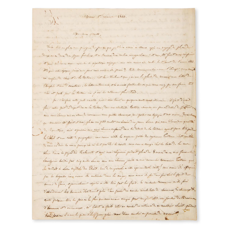 Manuscript letter written by Abbé Huc on his journey through Tartary and Tibet, 1846