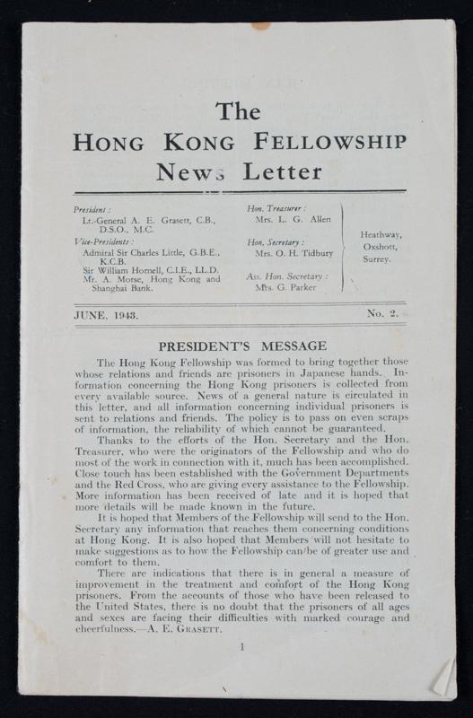 The Hong Kong Fellowship News Letter, 1943