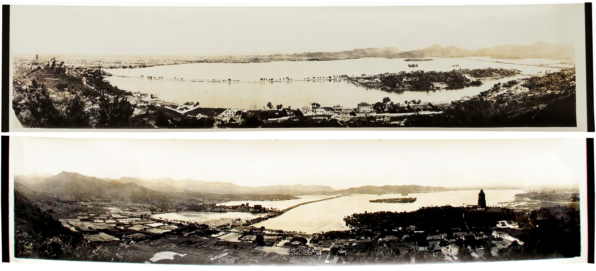 [West Lake, Hangzhou, circa 1914-1921]  -  Two very large panoramic photographs   .