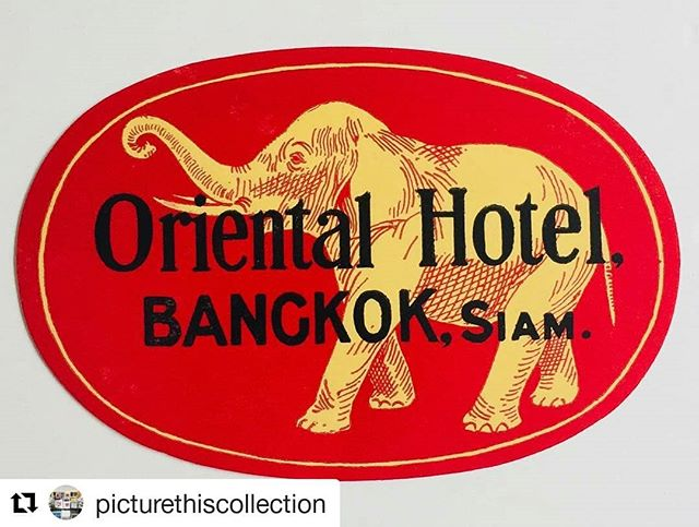 @picturethiscollection (@get_repost) ・・・ Just found this fabulous old label for the Oriental Hotel in Bangkok. Dates to the 1930's when Thailand was Siam. Great hotel, great label. Take a closer look at this and all the other vintage luggage labels on the picturethiscollection.com website. #bangkok #thailand #siam #orientalhotel #orientalbangkok #elephant #vintage #ephemera #luggagelabel #picoftheday