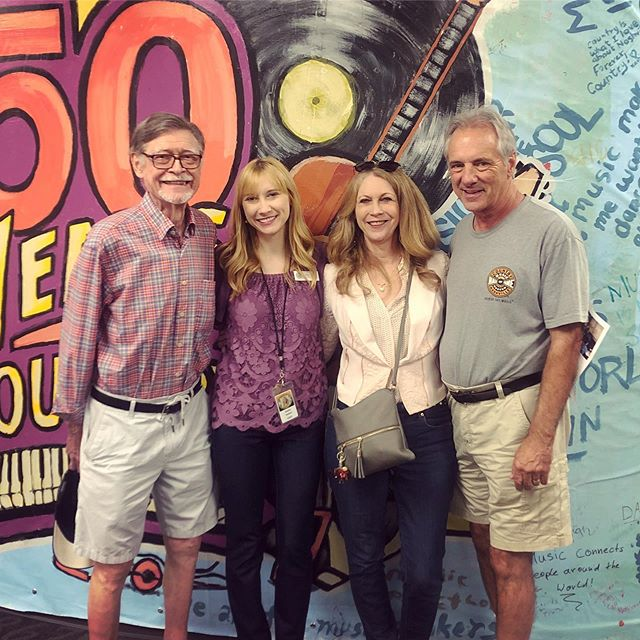"Thankful my family was in town to attend my first Songwriting 101 @officialcmhof! We wrote a group song called ""A Little Bit Braver."" Afterwards, my Grandad got to live out his dream of seeing Elvis Presley's Cadillac 🕺🏻"