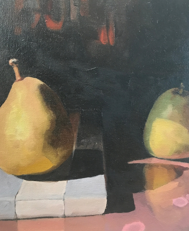 "Pears, 2017 8"" x 10"", oil on canvas board"