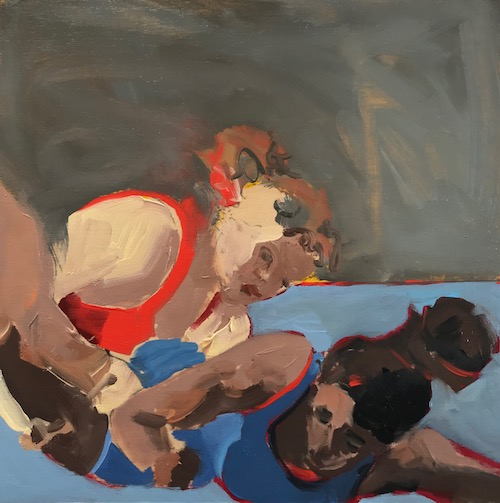 "The Wrestlers. 2019 oil on board 8"" x 8"""
