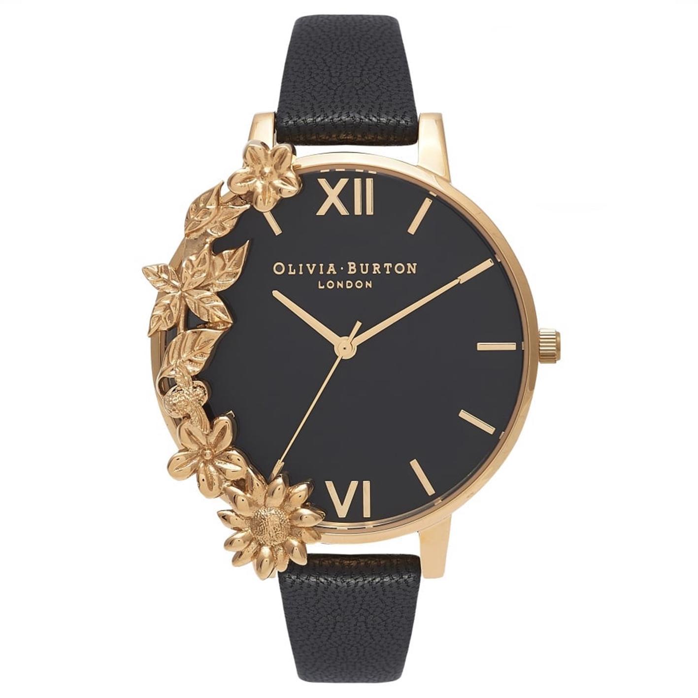 Case Cuff Black Dial & Gold Watch, £115, Olivia Burton