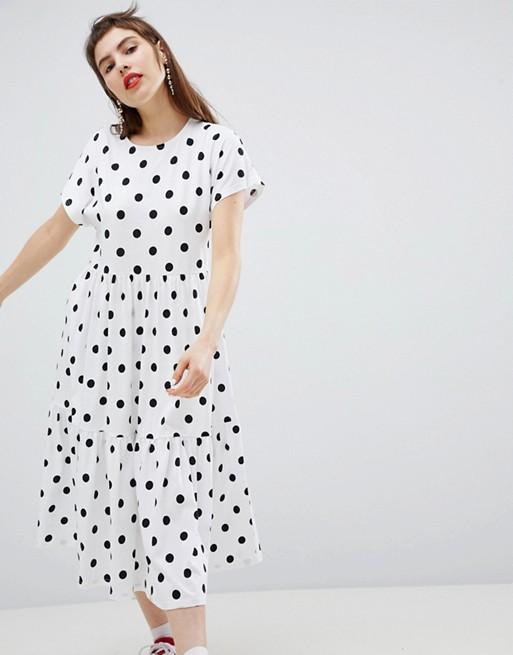Monki Polka Dot Tiered Midi Dress - Priced at £25, available at ASOS*