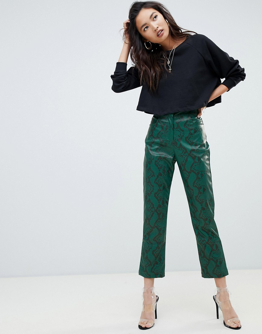 Na-kd Pu Faux Leather Pants in Green - £41 at ASOSThese faux leather trousers make a definite statement and can be easily dressed up or down, depending on the situation. The key is choosing a top and accessories that don't compete, otherwise your outfit will be one long scream.