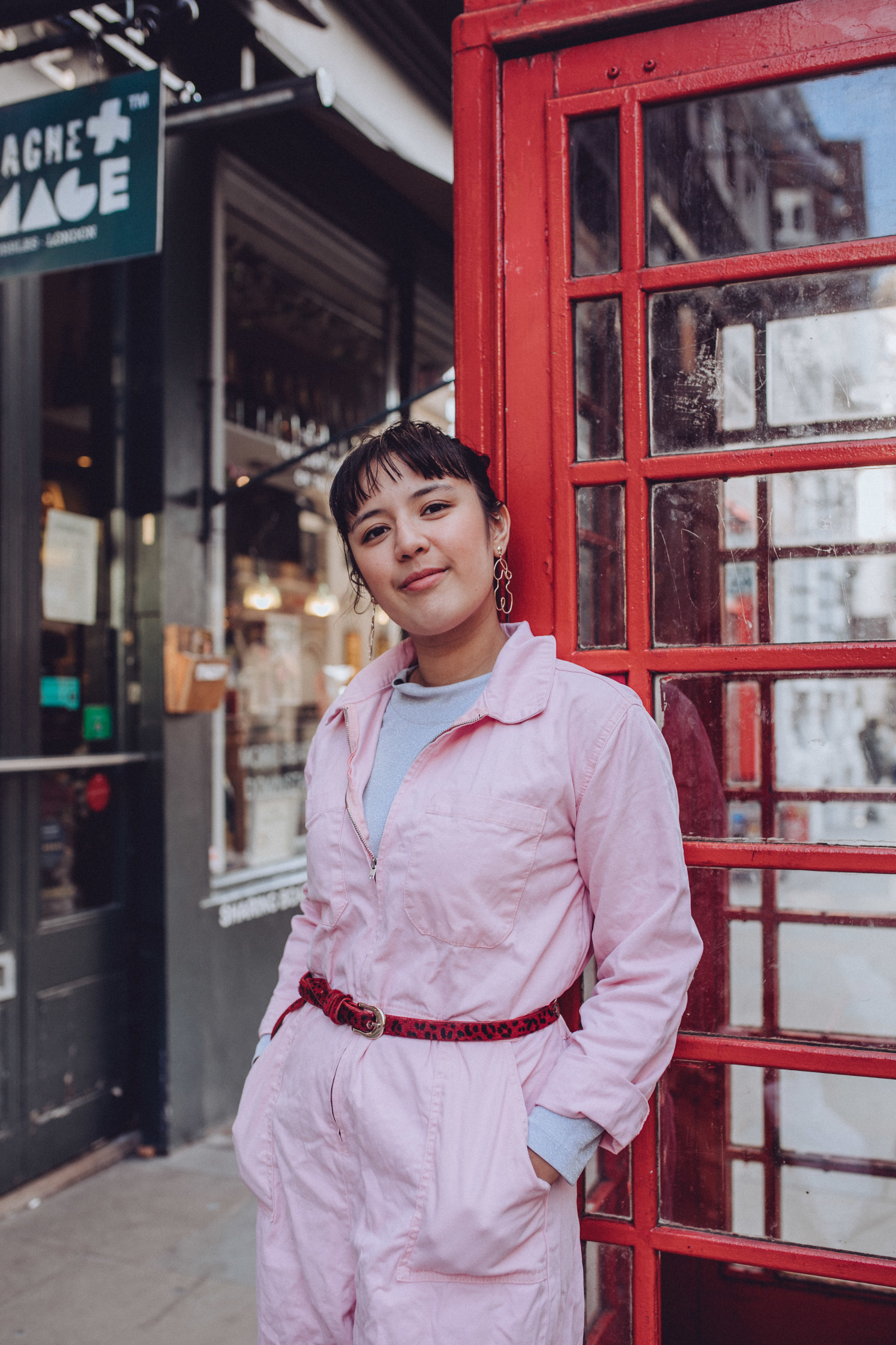 outfit details. - Boiler suitUO Rosie Pink Utility Jumpsuit, £79 at Urban OutfittersBeltRed leopard print belt, bought years ago at Argyle Centre in Hong KongEarringsStatement earrings, gifted but from Monki(Sad) turtleneck topWhite turtleneck top, bought at Monki years ago