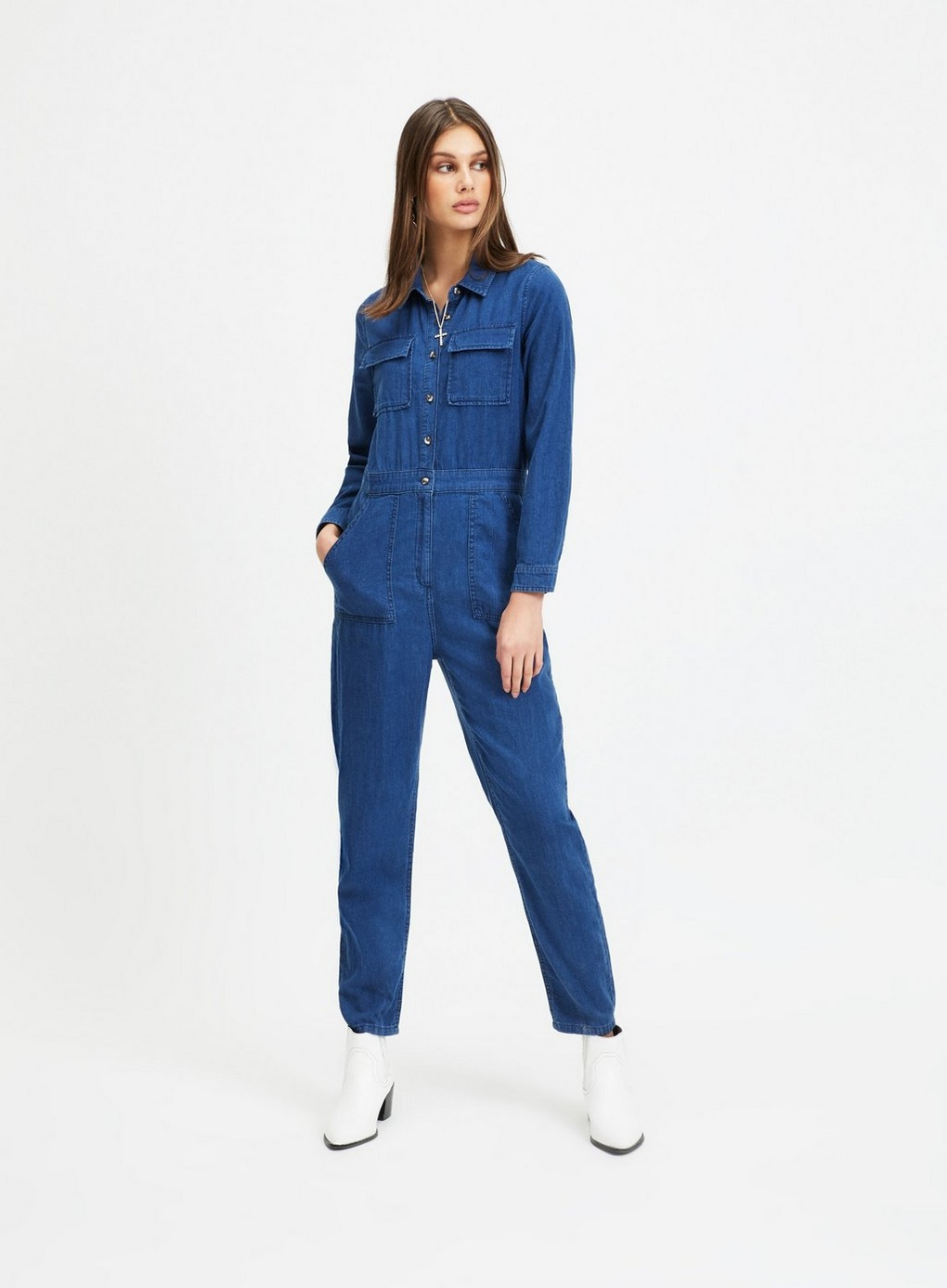 Miss Selfridge Denim Utility Boiler Suit - There's a lot of denim boiler suits on the market, but this one is one of my favourites for its cobalt blue wash and slim fit. Also, the styling here with the white boots is just * chef's kiss *£39, available at Miss Selfridge