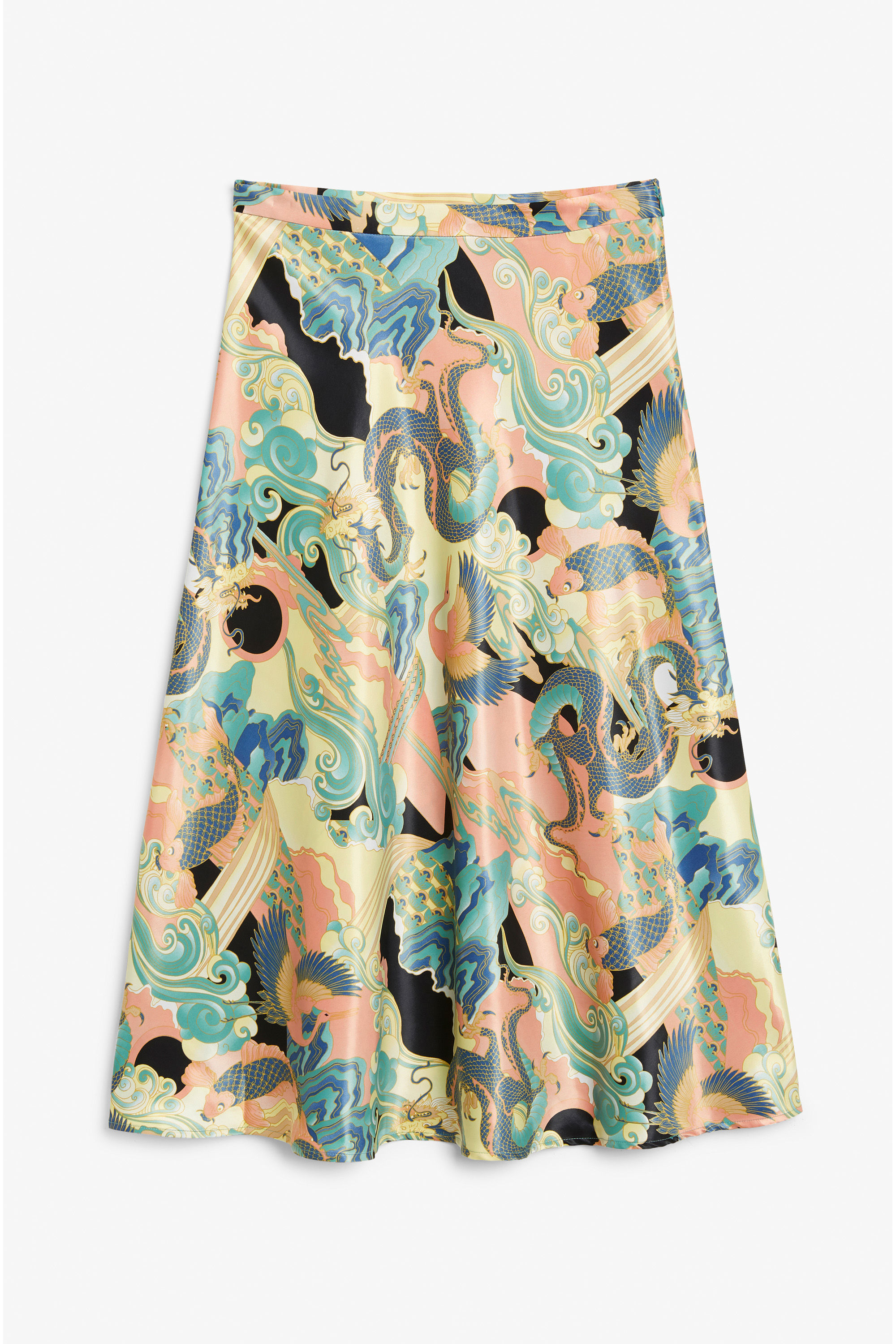 Monki Satin Midi Skirt in Peachy Waters - Is it a megchills approved article if there isn't at least one piece from Monki in it? I'm mega into this trippy piece which is a blend of pastels with a print inspired by traditional Japanese woodblocking.Also side note: there's a mega resurgence of Asian-inspired prints all over the place which makes me incredible homesick all the time. If somebody tries to tell you they're 'oriental', you point them my way and I'll throw a slipper at them.Priced at £30, available at Monki