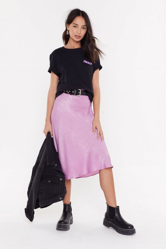 Nasty Gal Sleek Havoc Bias Cut Satin Skirt - If you hop onto Nasty Gal right now, basically everything is on sale. They have literally millions of satin skirts there right now in every colour and print you can imagine, so they're a good port of call if you want to dip your toe into the deep end without spending big bucks.Priced at £15, available at Nasty Gal