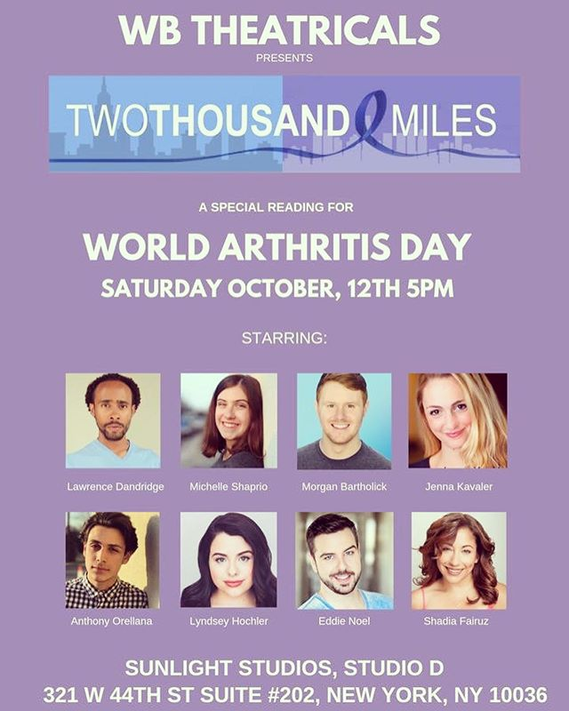 Today is World Arthritis Day! Since meeting @alyssamarieny, becoming her friend, and writing @2kmiles_musical with her, I've learned so much about this invisible illness and how it affects those who deal with it.  In honor of the day, we are having a special FREE reading of @2kmiles_musical tonight at 5pm at Sunlight Studios with a spectacular cast! To get a seat, email us at producers@wbtheatricals.com  #worldarthritisday #arthritisfoundation #worldarthritisday2019