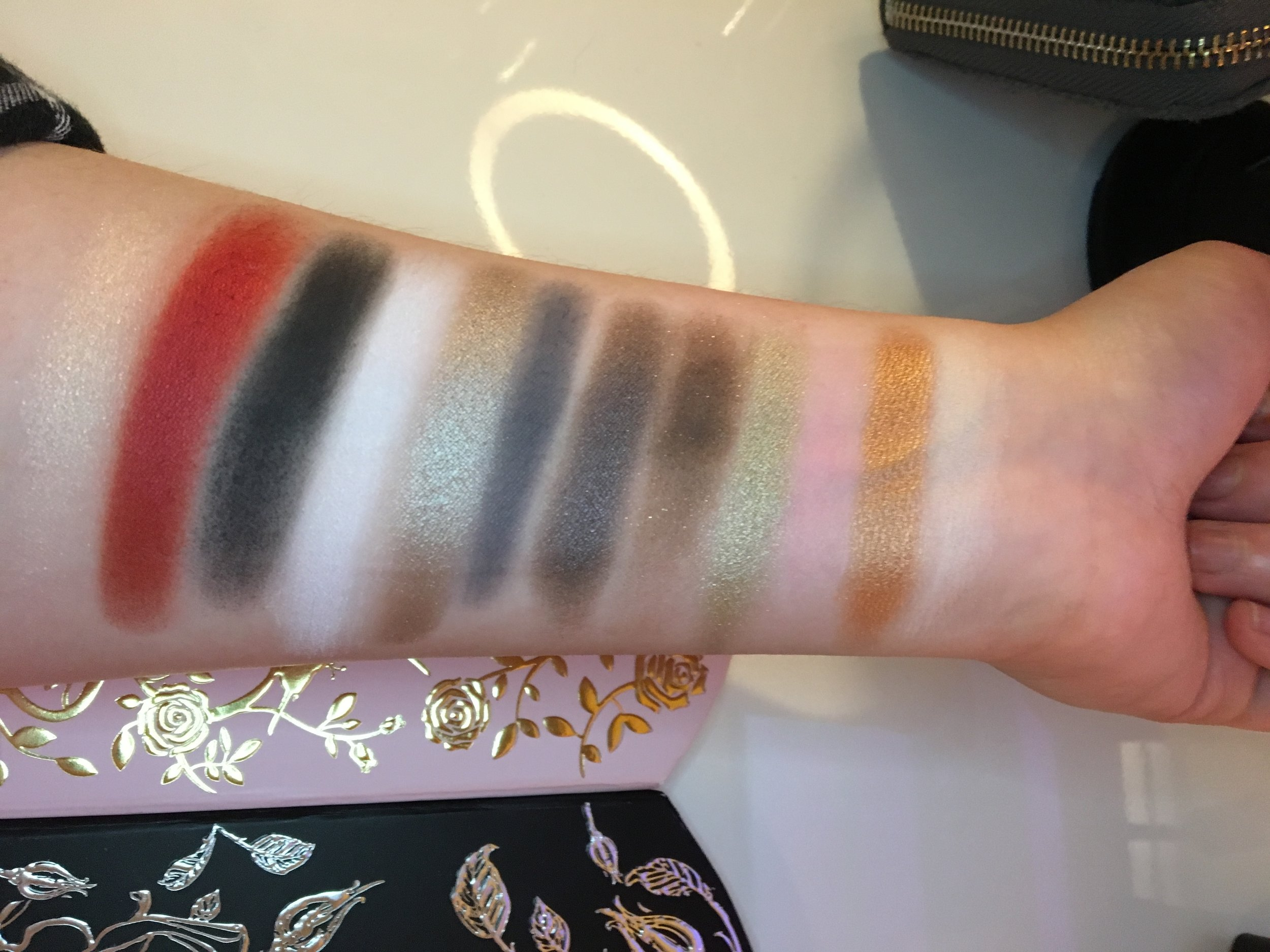 from left to right:  KAT VON D -   lovestruck, swoon, devotion, por vida, darling, yours   TOO FACED -   better together. power couple, heart of gold, lovely, friendspiration, bff