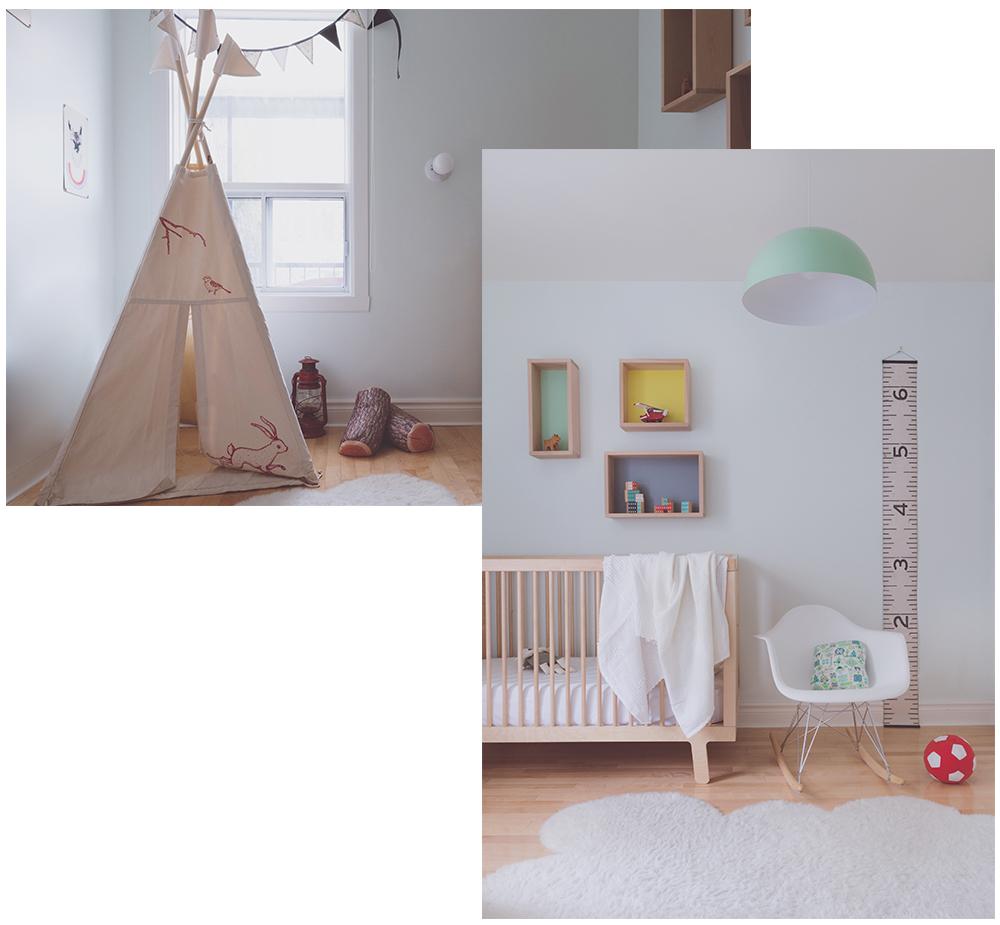 Péa les maisons. A gender neutral decor for a boy's nursery