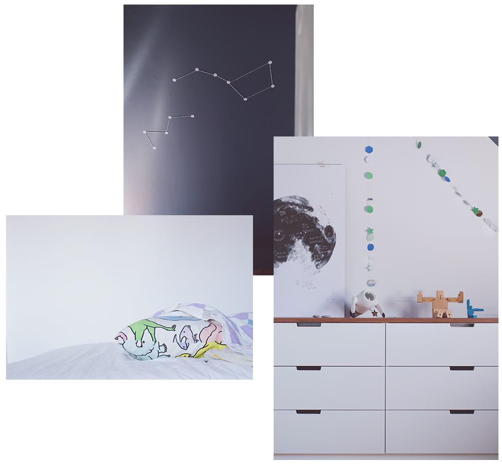 Péa les maisons. A space themed bedroom for a pre-teen boy
