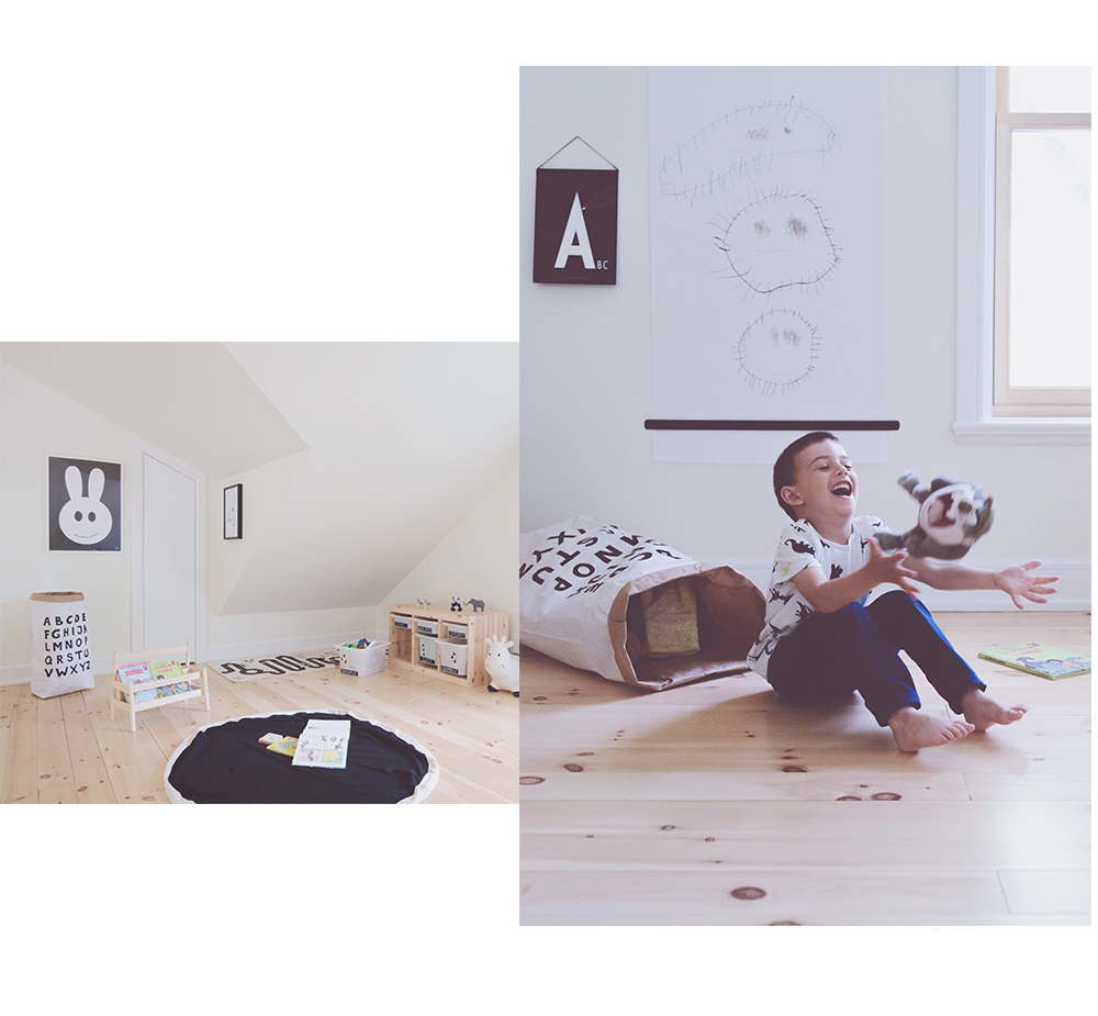 Péa les maisons. A creative playroom with lots of storage solutions
