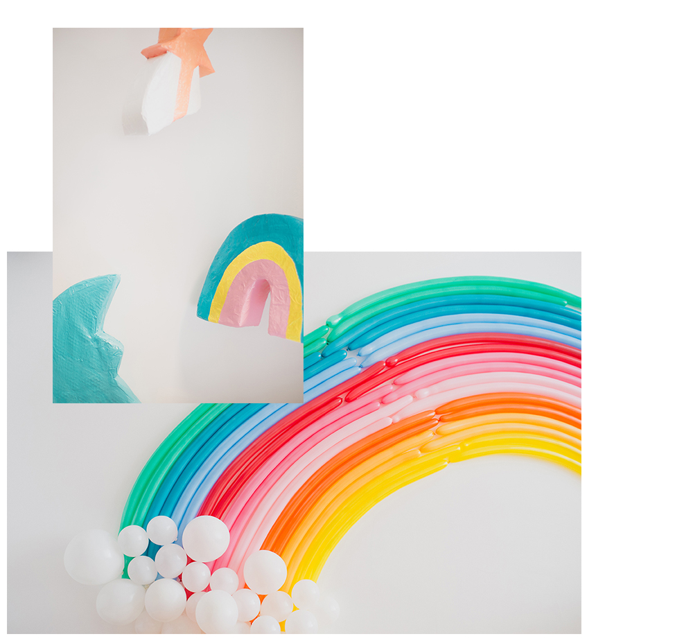 Péa les maisons. A colorful kid's birthday party decor