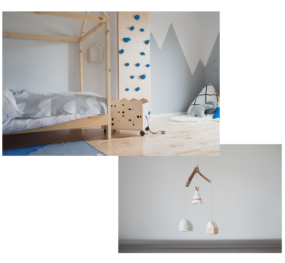 Péa les maisons. A blue and grey kids room in the mountains with a house bed and a climbing wall for two adventurous little boy