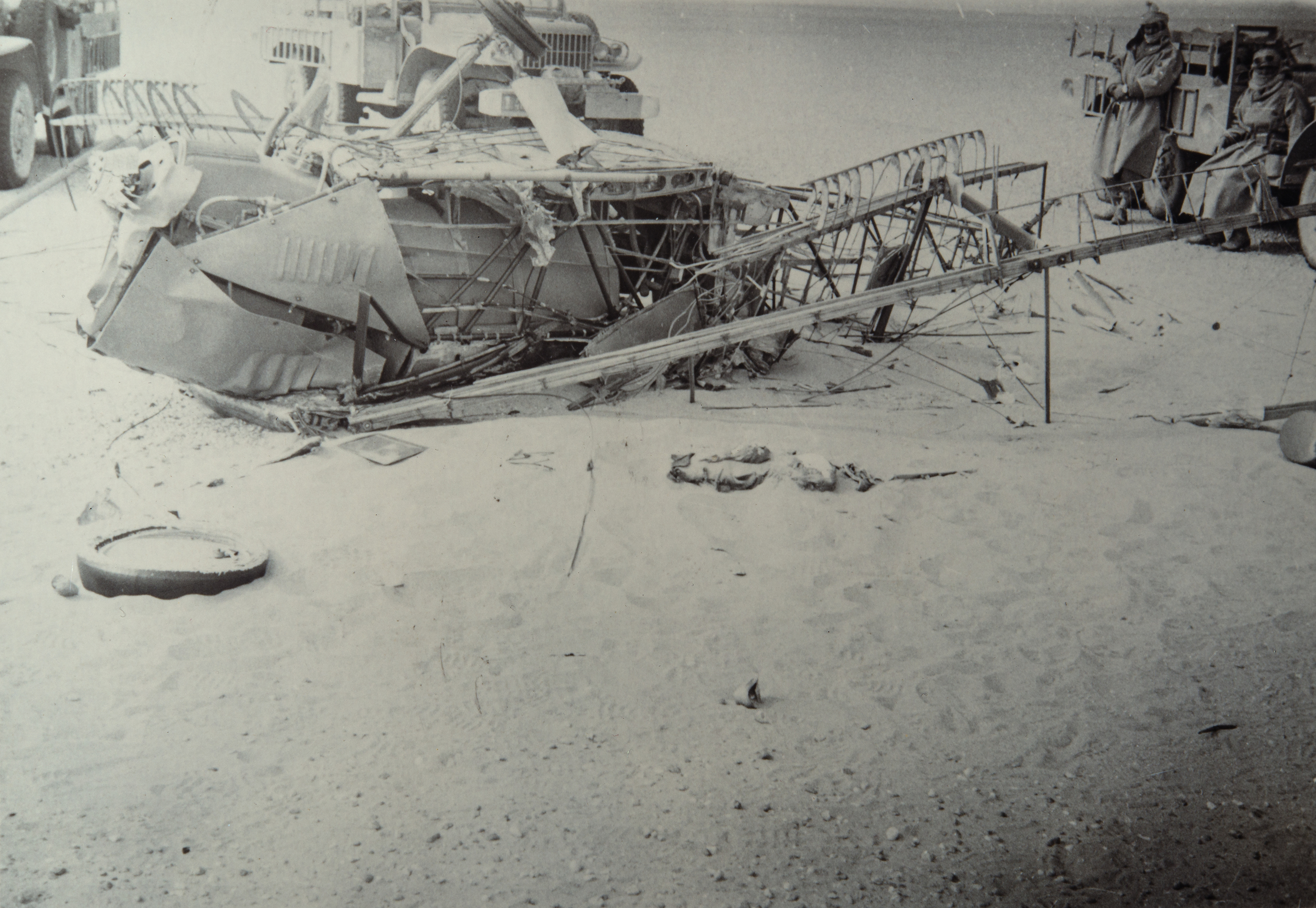 Wreckage of Bill Lancaster's Avro Avian 'Southern Cross Minor' after discovery by a patrol of the Groupe Saharien Mixte du Tout, a unit of the French Foreign Legion in Algeria-2.jpg