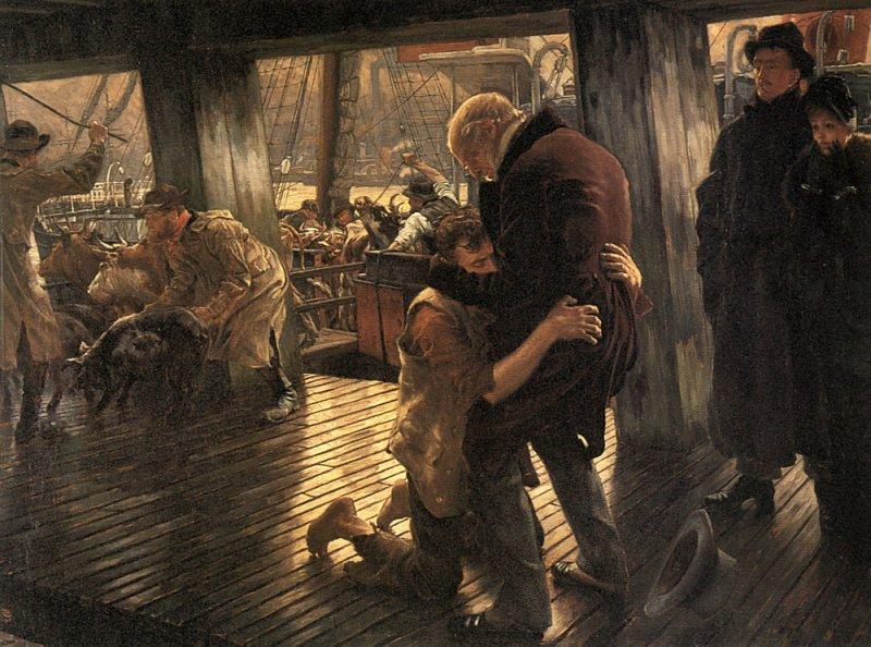 "James Tissot 1836-1902, ""The Prodigal Son in Modern Life; The Return"""