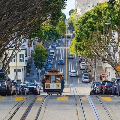 Riding the cable cars to Lombard Street