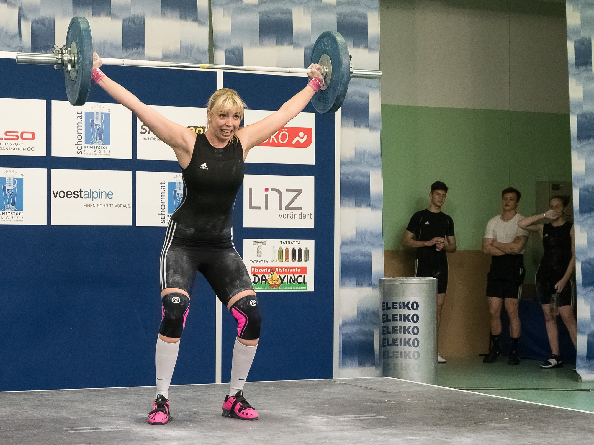 Stefanie Dröxler with a successful attempt (snatch) during third round of Austrian Weightlifting Bundesliga.  Isiwal/Wikimedia Commons/CC BY-SA 4.0 [CC BY-SA 4.0 (https://creativecommons.org/licenses/by-sa/4.0)]