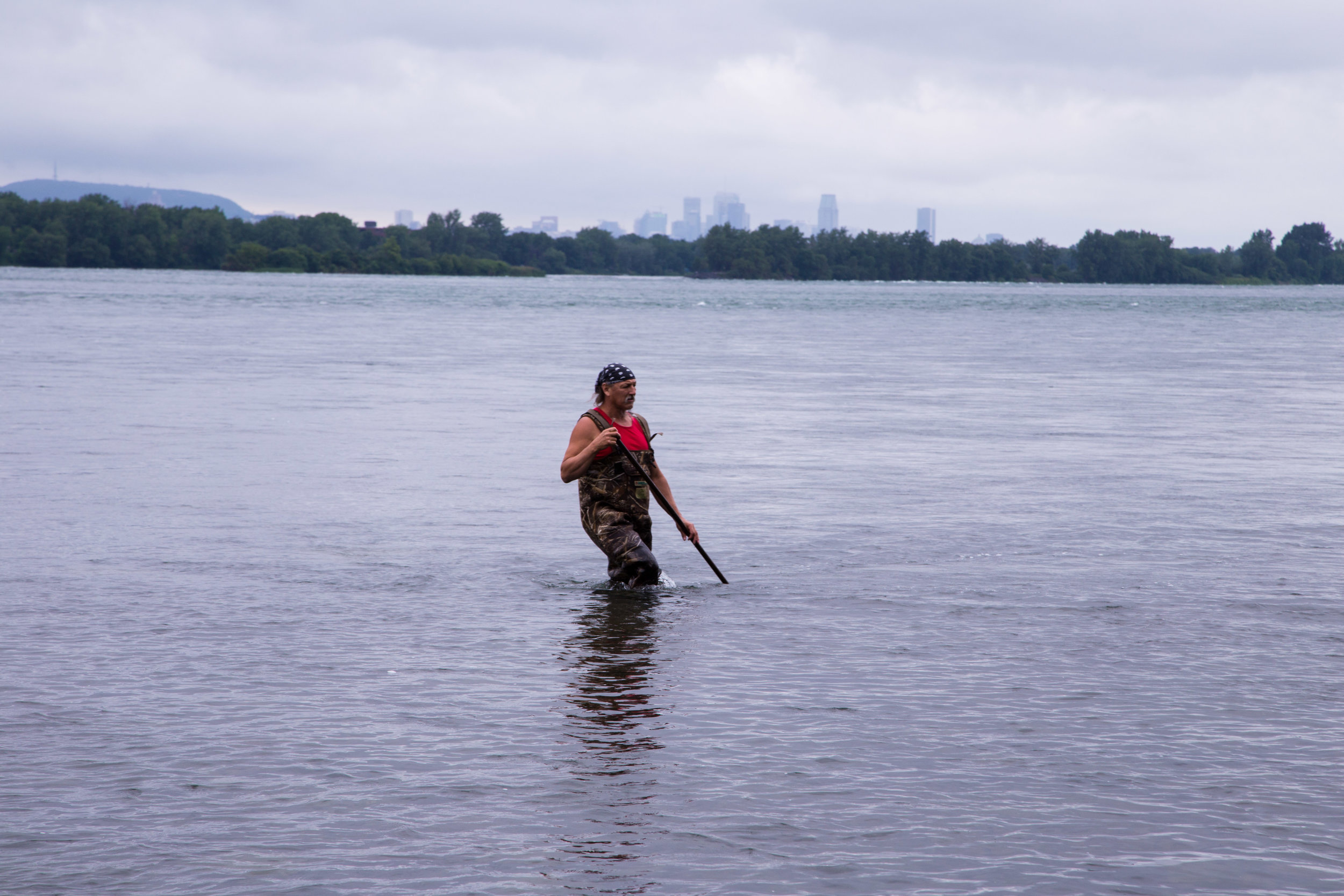 Dirt McComber spearfishing in the St. Lawrence River.