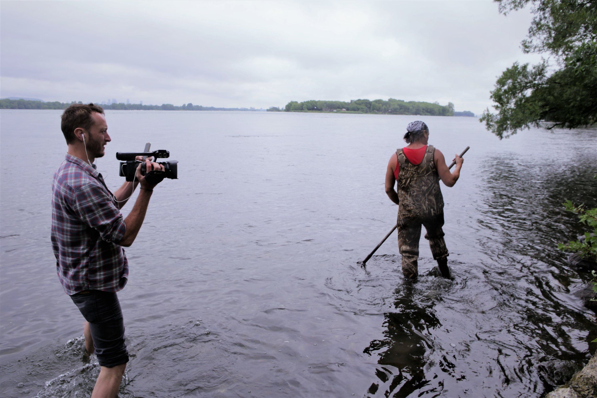 Co-director & producer, Ryan White (left) capturing Dirt (right) as he spearfishes in the St. Lawrence river. Photo dimensions 5472 x 3648