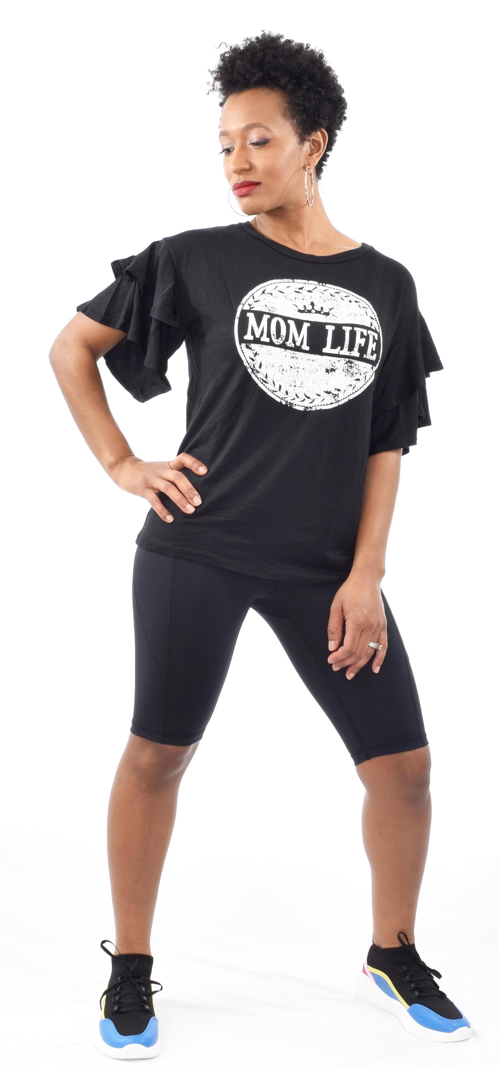 """Mom Life"" Ruffle Sleeve T-Shirt - $15"