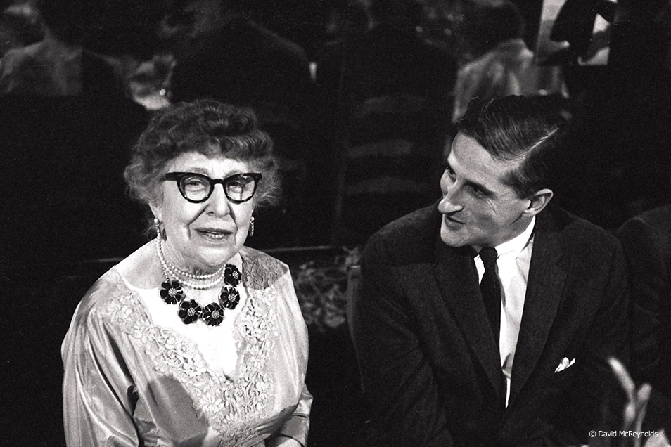 Jeannette Rankin and WRL board member Roy Finch. Rankin was awarded the first WRL Peace Award. New York City, 1958.