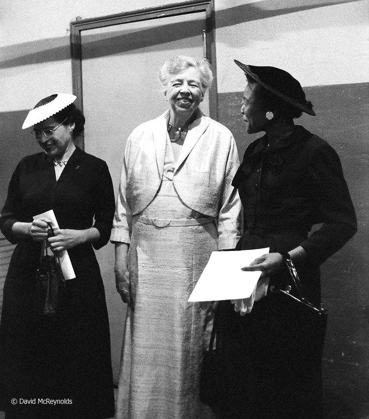 "Rosa Parks, Eleanor Roosevelt, and Autherine Lucy backstage. Roosevelt noted in her  diary:  "" The rally was an impressive meeting, and...I had the pleasure of interviewing Miss Autherine Lucy, the student who made application to enter the undergraduate body at the University of Alabama."""