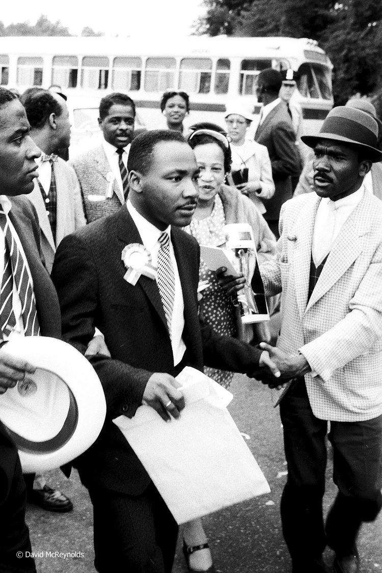 "Martin Luther King Jr. leaving the Prayer Pilgrimage. He gave the last speech of the day, ''Give Us the Ballot,"" which placed him in the national spotlight as a major leader of the civil rights movement."