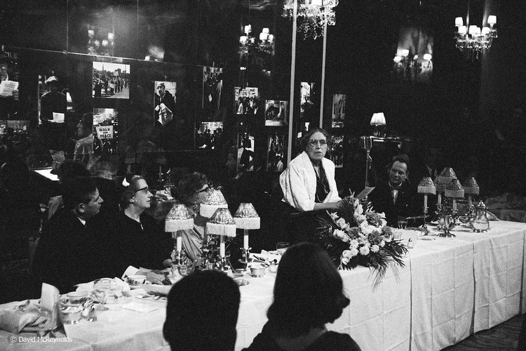 Tracy Mygatt, one of the founding members of WRL, speaking at the dinner for Jeannette Rankin, NYC 1958.