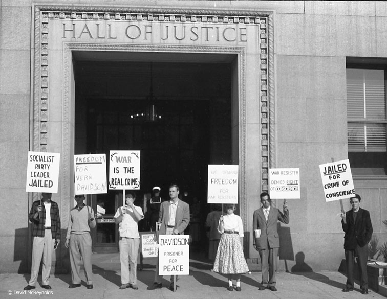 Picket line protesting Vern Davidson's imprisonment for refusing induction. December 1955. Davidson served two years in prison for his draft resistance. He remained a pacifist throughout his life. (55-29)