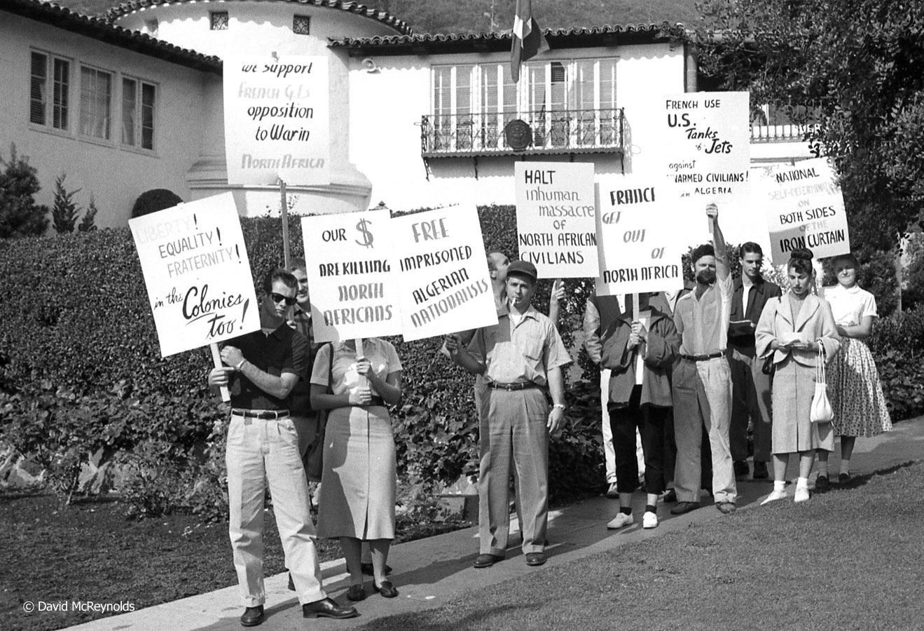 Marching to the French Embassy in Los Angeles, November 1955. (55-26)