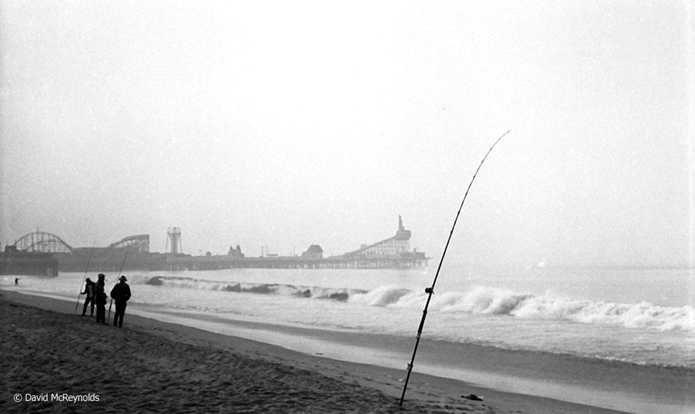 Ocean Park Pier with amusement park. January 1954