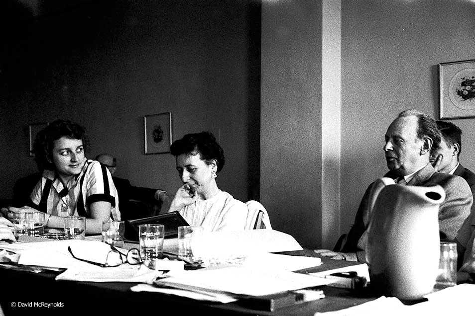 National Executive Committee meeting, Socialist Party, May 25, 1957, New York City. Gus Gerbee on the right, Robin Myers center. (57-11)