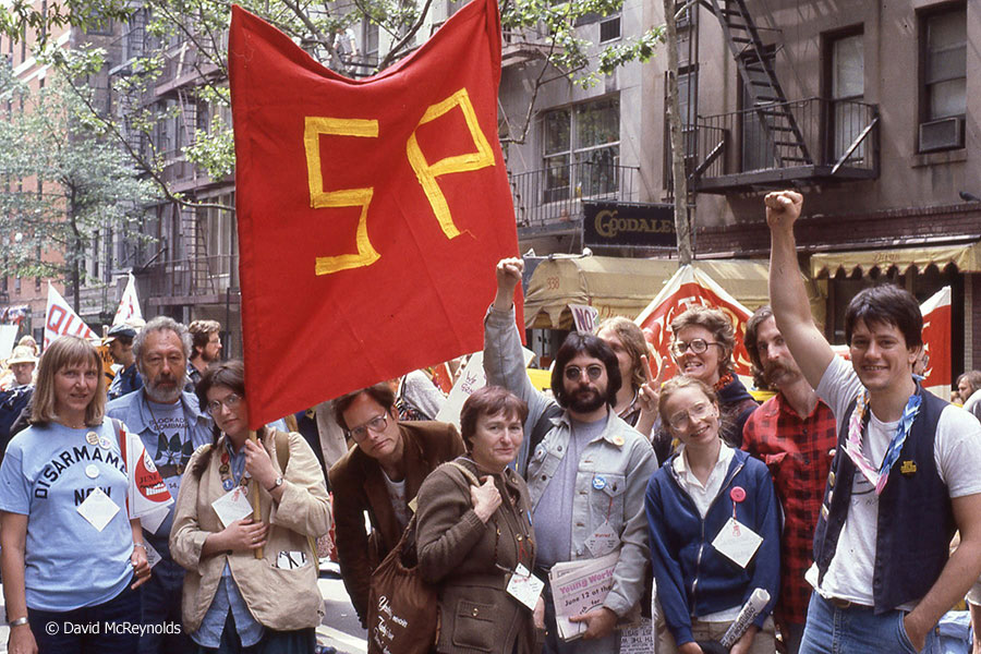 SP contingent at the second Special Session on Disarmament march, June 12, 1982, NYC.