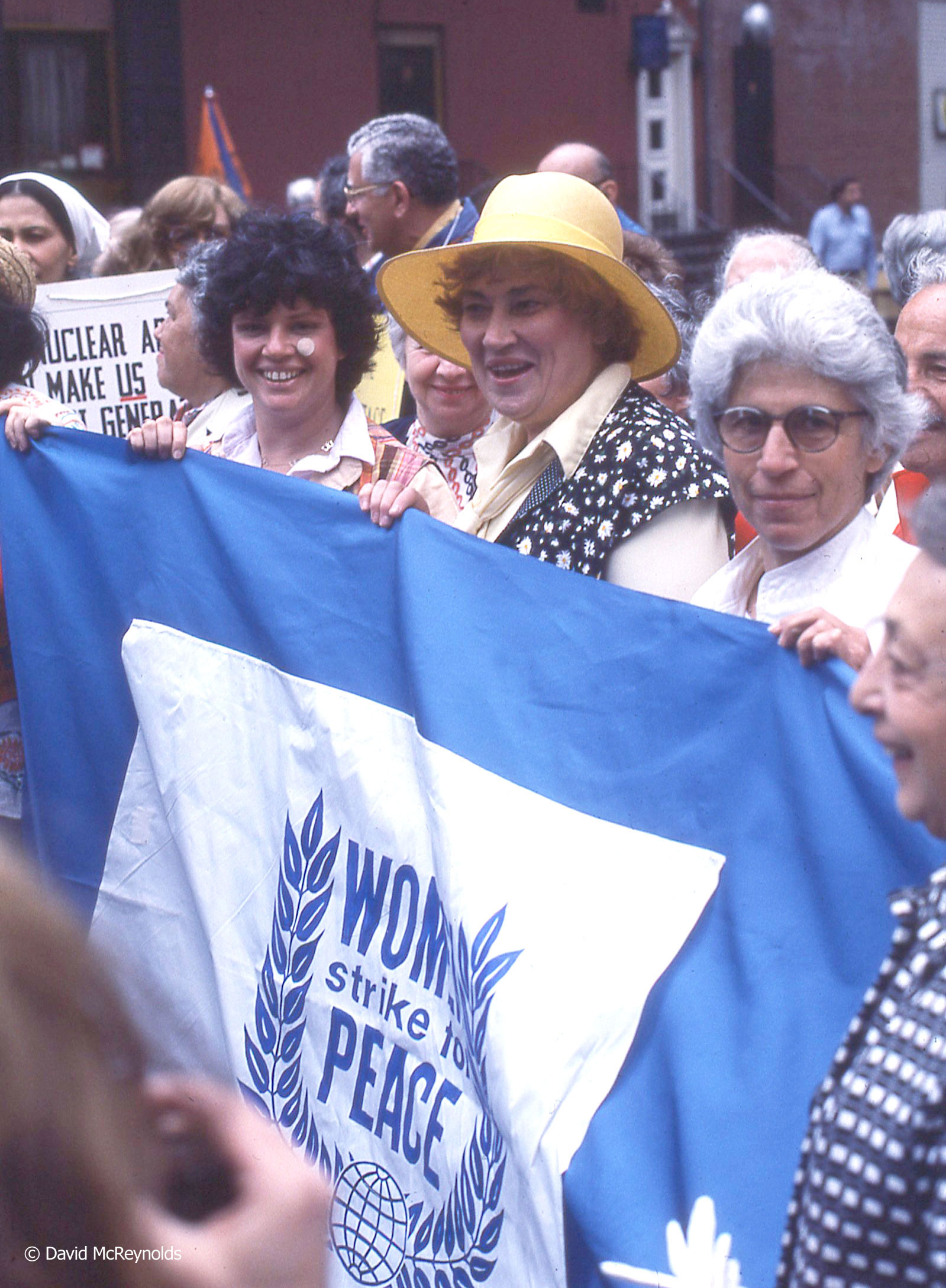 Bella Abzug in hat marching during the Special Session on Disarmament Demonstration, May 27, 1978.