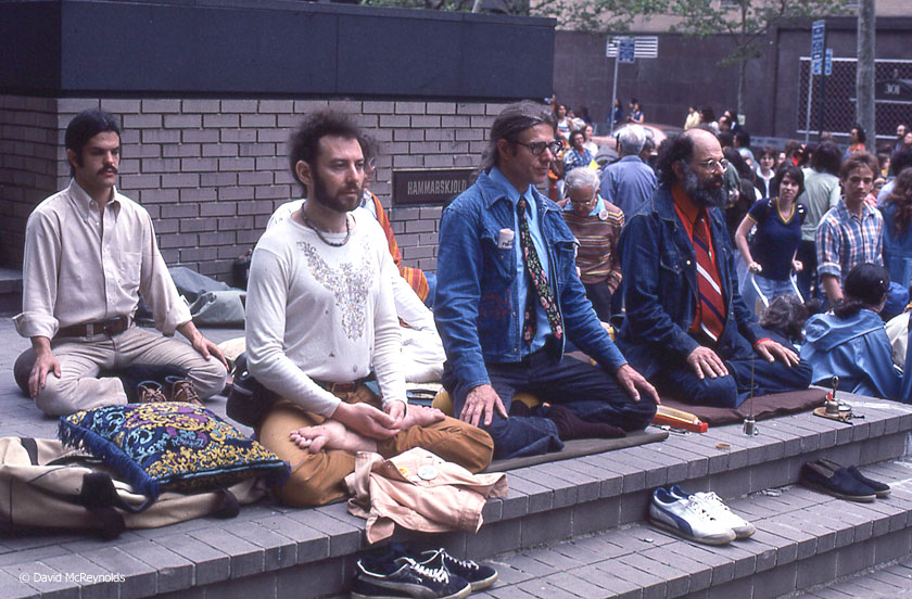 Allen Ginsberg, right, next to Peter Orlovsky, during a meditation at Dag Hammerskold Plaza near the UN during the Special Session on Disarmament Demonstration, May 27, 1978.