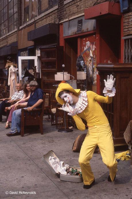 Street clown outside 339 Lafayette, July 1980.