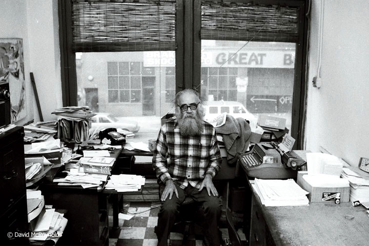 Igal Roodenko in his office at 339 Lafayette Street, 1981.