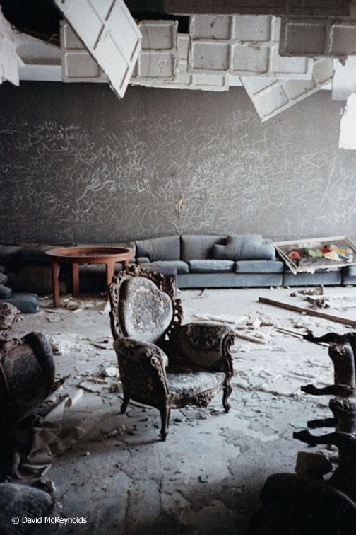 The group toured the ruins of Gaddafi's house, hit by U.S. bombs in April 1986.