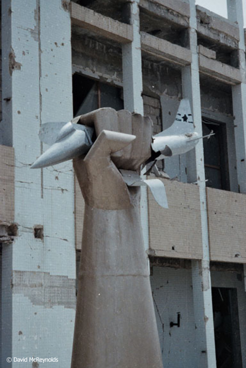 Gaddafi erected a statue showing a hand crushing a model U.S. warplane in front of his house, which was bombed in a U.S. raid in 1986.