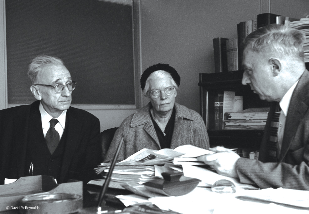 AJ Muste (left) and Dorothy Day (center) at a UN Meeting in January, 1959.