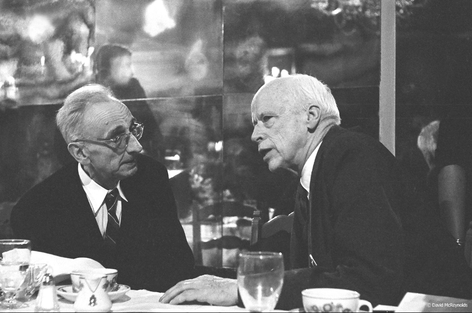 AJ Muste and Norman Thomas at the 1959 WRL dinner. Muste received the 2nd Annual Peace Award.