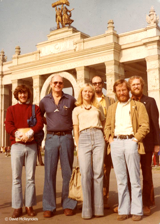 WRL activists in front of the entrance to the All-Russian Exhibition Center: Patrick Lacefield, Scott Herrick, tour guide Olga, David, Craig Simpson, Steven Sumerford. One of the other group members, Norma Becker or Jerry Coffin, is behind the camera.
