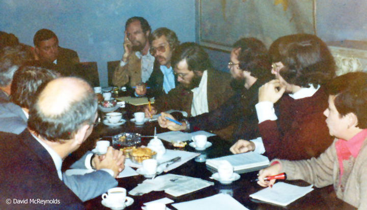 A day after their brief detention for leafleting and unfurling a banner in Red Square, the group had a meeting with the Soviet Peace Committee. Photographer unknown.